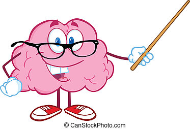 Smiling Brain Holding A Pointer - Smiling Brain Teacher...