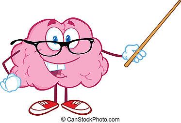 Smiling Brain Holding A Pointer - Smiling Brain Teacher...