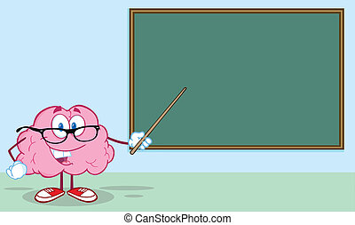 Brain In Front Of Chalkboard