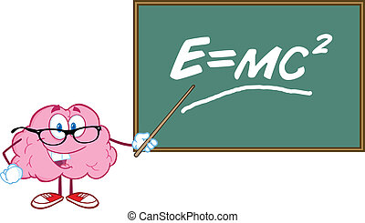 Brain Teacher With Einstein Formula - Smiling Brain Teacher...