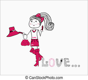 cute love girl in a purple dress vector