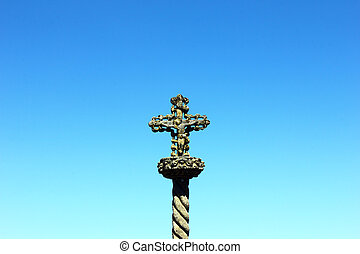 Detail of a cross at Castelo Branco, Portugal
