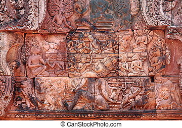 Bas-relief at Banteay srei - There are a lot of bas-relief...