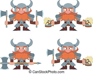 Dwarfs with beer mugs and axes, set - Dwarfs warriors in...