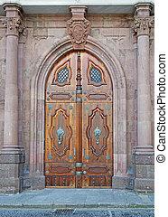 neo gothic door and columns - old door in neo gothic style