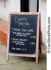 Pub menu sign, England