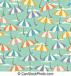 Seamless pattern in retro style with umbrellas.