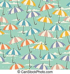 Seamless, patrón, Retro, estilo, paraguas
