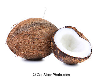 coconut and slice on a white background