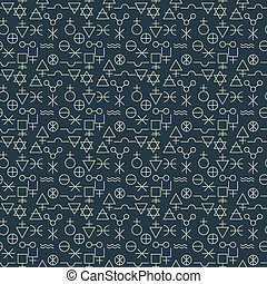 Pattern - Seamles abstract alchemy signs pattern