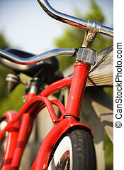 Red bicycle. - Image of red bike leaning against railing of...