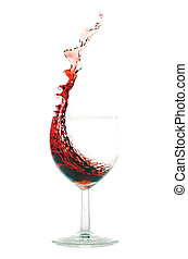 red wine splash before white background