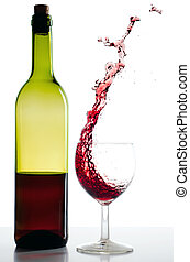 Red wine bottle and red wineglass Splash before white