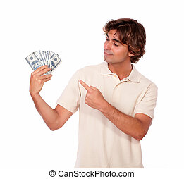 Charismatic young adult holding cash money