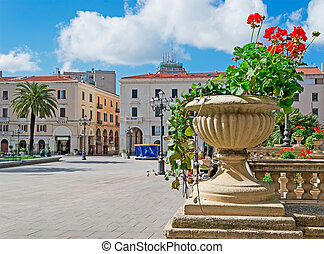 flower pot in Sassari - flower pot in Piazza dItalia,...