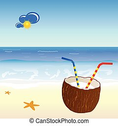 coconut and beach vector illustration part two