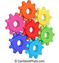 Colorful gear wheels isolated on white background. High...