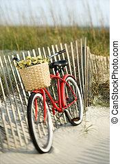 Bike on beach.