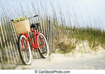 Bicycle with flowers - Red vintage bicycle with basket and...