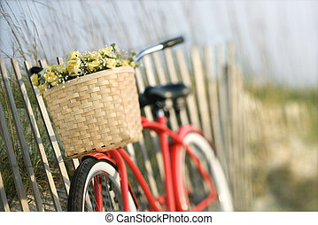 Bicycle with flowers. - Red vintage bicycle with basket and...