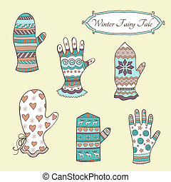 Set with vintage mittens and gloves - Vector set with...