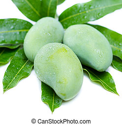 mango and leaf on a white background - green raw mango and...