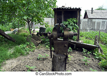 vise on old stump