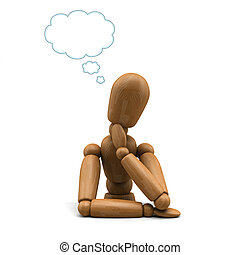 Mannequin Daydreaming - 3D image of a wooden mannequin...