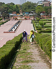 Raj Ghat park, a memorial to Mahatma Gandhi is a simple...