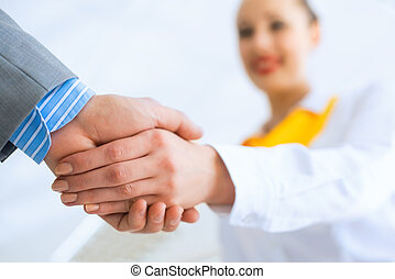 business woman shaking hands with a client - young business...