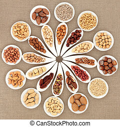 Nut Selection - Large nut selection in white porcelain...