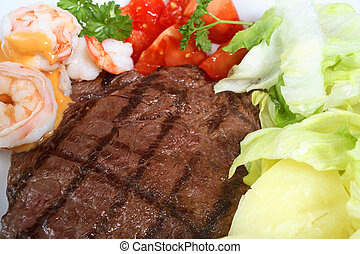 Surf and turf meal - A surf and turf meal of rump steak and...