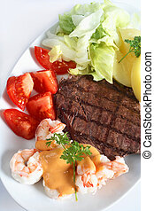 "Surf and turf meal - A \""surf and turf\\\"" meal of rump..."