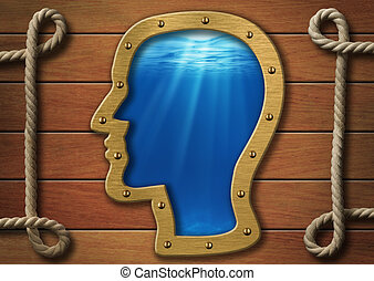 The inner world concept Head porthole on wooden wall and sea...