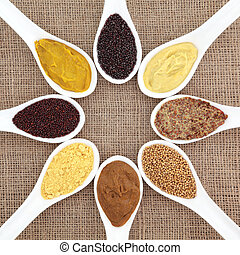 Mustard Variety - Mustard selection of powder, seed, french,...