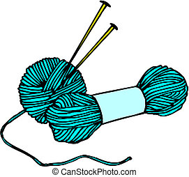 Woollen thread and knitting needle. Needlework accessories...