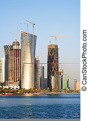 Doha building boom - A view of the high-rise construction...