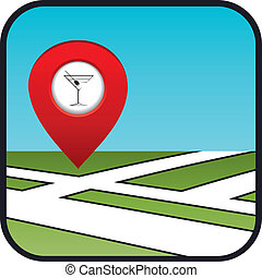 Street map icon with the pointer bar.