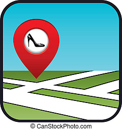 Street map icon with the pointer shoe shop. vector,...