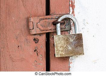 porta, ottone, chiuso chiave, lucchetto