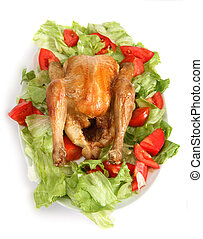 Roast chicken on a bed of salad