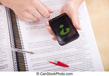 resolving doubts with smart phone