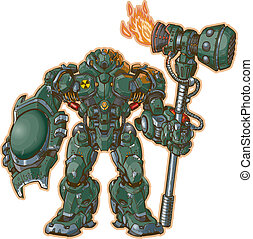Robot Warrior W Shield And Hammer - A vector illustration of...
