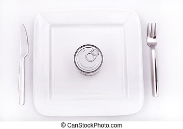 Tinned food - Tinned nutrition on a plate.