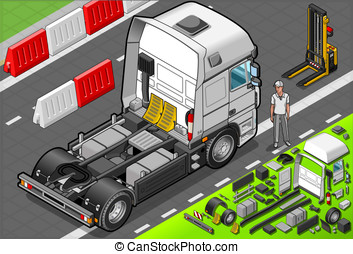 Isometric Tow Truck Only Cab in Front View - Detailed...