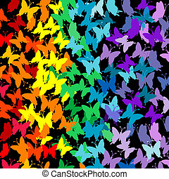 Seamless pattern with rainbow butterflies