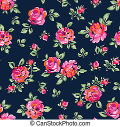 little painted roses on navy - vector seamless background