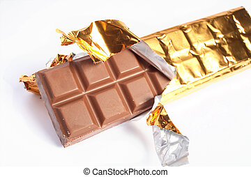 Bar of chocolate - A bar of chocolate with the gold foil...