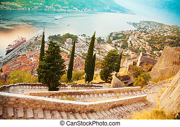 Kotor from the castle - Old town of Kotor, Montenegro view...