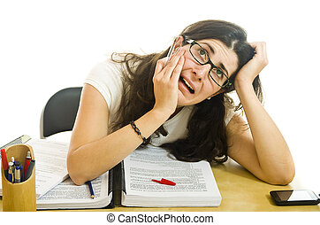 Stressed woman with exams, siolated on white